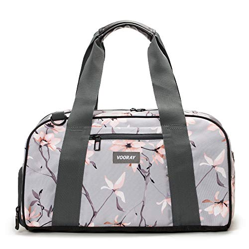"""Vooray Burner 16"""" Compact Gym Bag with Shoe Pocket (Gray Cherry Blossom)"""
