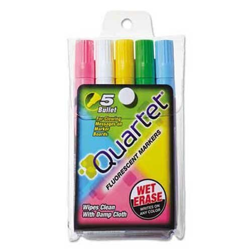 Quartet Glo-Write Fluorescent Marker Five-Color Set, Assorted, 5/Set