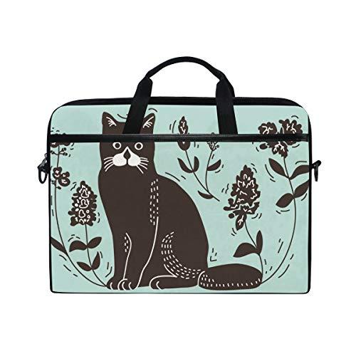 IMOBABY Cat Lithograph Laptop Bag Canvas Messenger Shoulder Bag Briefcase Fits 15-15.4 inch