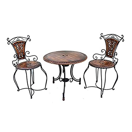 Acme Production Wooden & Iron Carved,Decorative Foolding Table with 2 Chair Set