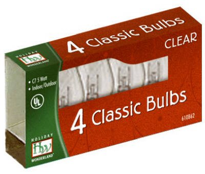 Noma #1074C-88 HW 4PK C7 Clear Bulb