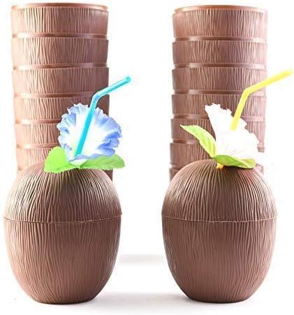 12//set Hawaiian Tropical Coconut Drinking Cup Straw Luau Beach Party Supply