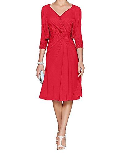 Blau Hell Knielang mit Chiffon Festlichkleider Rot Abendkleider mia Braut Damen Bolero La Brautmutterkleider YtwIA