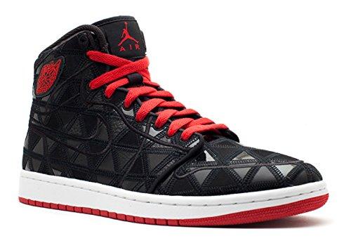 Nike Mens Aj1 J2k Alta Nero / Varsity Rosso-bianco In Pelle