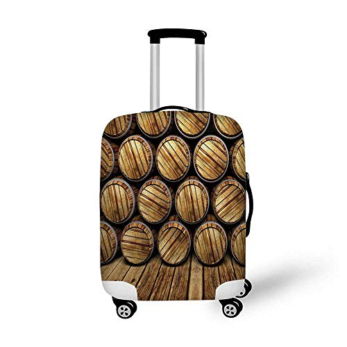 Man Cave Decor Stylish Luggage Cover,Wall of Wooden Seem Barrels Cellar Storage Winery Rum Container Stack for Luggage,M(19.6''W x 28.9''H)