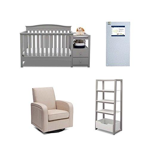 Delta Children Birkley 4-Piece Nursery Furniture Set (Convertible Crib N Changer, Ladder Shelf, Glider, Crib Mattress), Grey by Delta Children