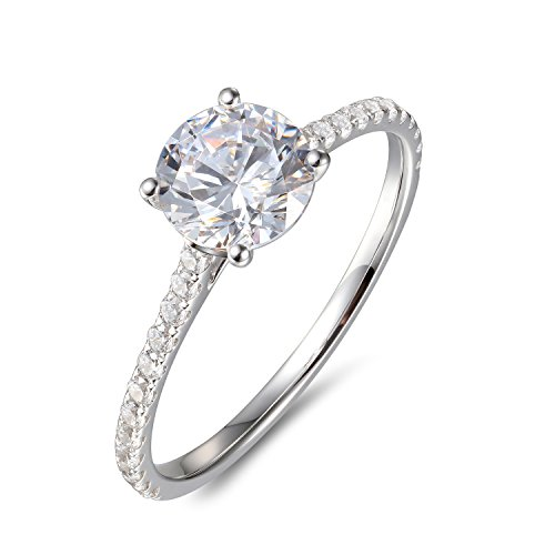 Lamrowfay 1Ct Halo Solitaire Cubic Zirconia Promise Engagement Ring in 14K Rose Gold or White Gold or Yellow Gold, 1.70cttw (White-Gold, - Gold White Engagement Setting
