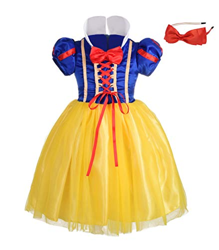 Lito Angels Girls' Princess Snow White Costume Fancy Dresses Up Halloween Outfit with Headband Size 5]()