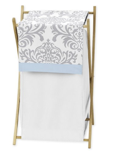 Baby/Kids Clothes Laundry Hamper for Blue, Gray and White Damask Print Avery Bedding (Damask Clothes)