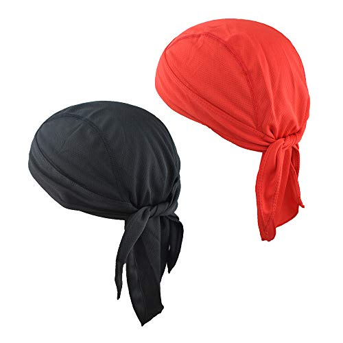 EINSKEY Doo Rag Skull Cap 2-Pack Helmet Liner Sweat Wicking Quick Drying Sport Beanie Hat for Running Cycling Pirate Headscarf Headwraps