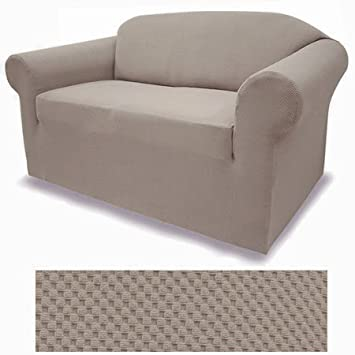 4-Way Stretchable BEIGE Form Fit Slipcover Set - Stretch Sofa cover and Loveseat Cover included
