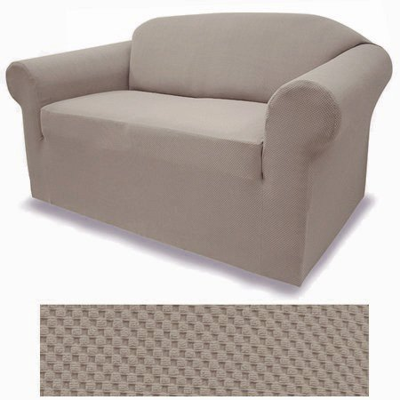 Arm Chair Loveseat - Grand Linen Jersey Stretch Solid Eggshell Taupe Brown Slipcover Set - Sofa Cover, Loveseat Cover and Arm Chair Cover Included