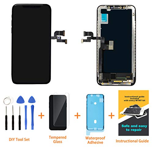 WYNT iPhone Xs 5.8 inch Screen Replacement Retina LCD Display Touch Screen Digitizer Glass Frame Assembly Set with Tools Repair Kit & Precut Water Resistant Frame Adhesive for iPhone Xs