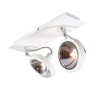 QAZQA Diseño, Moderno Foco NOX 2 blanco, Metal, Redonda, Cuadrada / Adecuado para LED G9 Max. 2 x 40 Watt