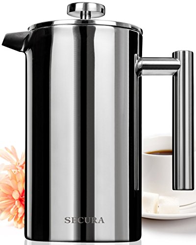 Secura Stainless Insulate French Press Coffee Maker 18/10 Bonus Stainless Steel Screen (1000ML)