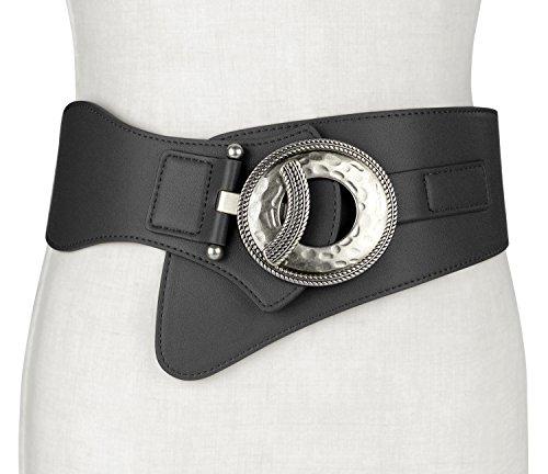 Retro Women Leather Wide Elastic Stretch Cinch Waist Belt With Interlock Buckle