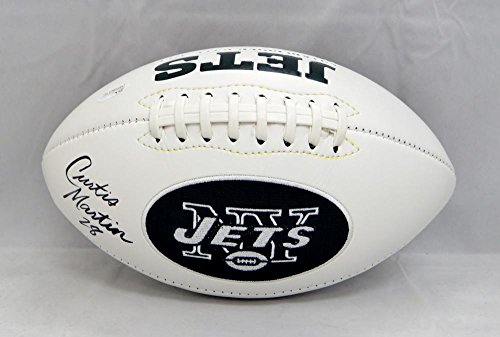 Curtis Martin Jets (Curtis Martin Autographed New York Jets Logo Football- JSA Witnessed Auth)