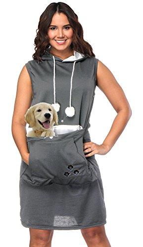 sandals Womens Pet Carrier Dresses Kitten Puppy Holder Long Shirts Big Pouch Hood Tops