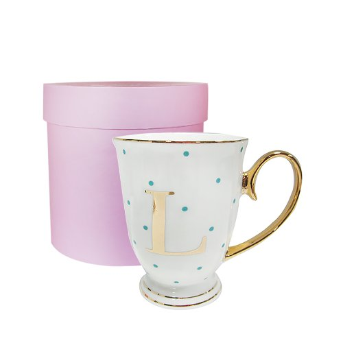 Bombay Duck Alphabet Spotty Metallic Mug Letter L Gold with Aqua Spots, 13x13x12 cm, White