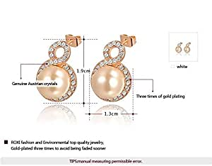 Crystals Gold Plated 8 Style with a Pearl Adorned Diamonds Stud Earrings 30490
