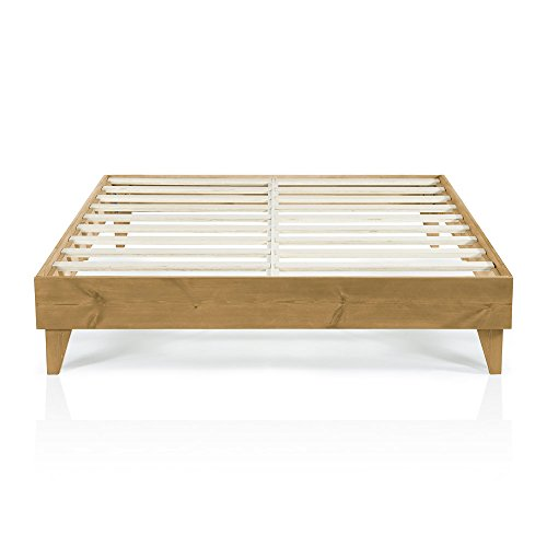 Modern California King Size Platform Bed Frame | Solid Wood Design | Made in U.S. | Easy Assembly, Almond California King Unfinished Bed