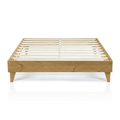 Modern King Size Platform Bed Frame | Solid Wood Design | Made in U.S. | Easy Assembly, Almond