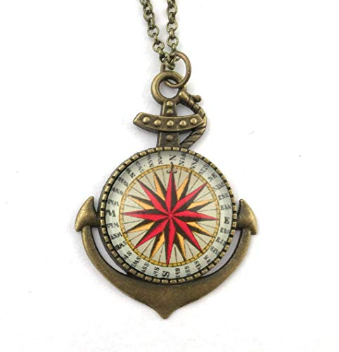 Compass Rose Necklace in Anchor Pendant Handmade