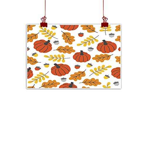 duommhome Abstract Painting Halloween Seamless Pattern with Pumpkin Leaves and Acorns Abstract Painting 47