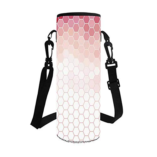 Light Pink Stylish Bottle Sleeve,Hexagon Forms Linked Abstract Beehive Gradient Toned Creative Image Decorative for Bottle & Vacuum Cup,3.7''L x 3.7''W x 10.2''H