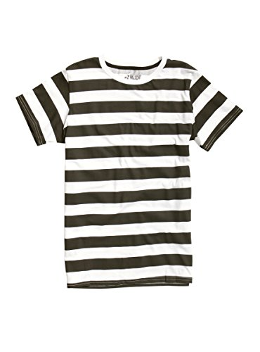 [XXX RUDE Black & White Striped T-Shirt] (Pugsley Addams Costume)