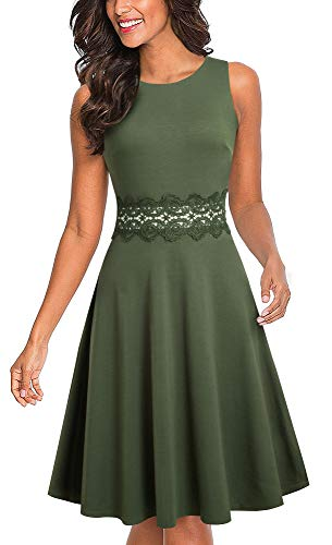 HOMEYEE Women's Sleeveless Cocktail A-Line Embroidery Party Summer Wedding Guest Dress A079 (8, Army Green)