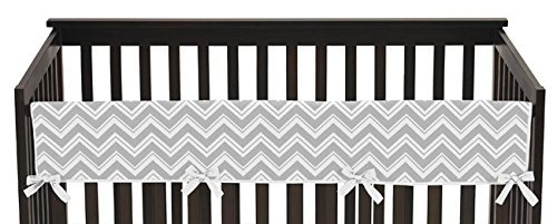Sweet Jojo Designs Unisex Long Front Rail Guard Baby Boy or Girl Crib Teething Cover Protector for Turquoise and Gray Chevron Zig Zag Collection