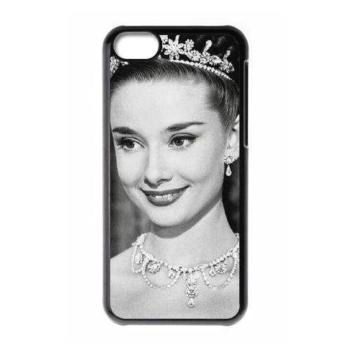Audrey Hepburn coque iPhone 5C Housse téléphone Noir de couverture de cas coque EBDOBCKCO13515