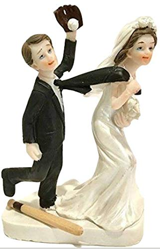 Wedding Bride & Groom Couple His Perfect Catch Baseball Lovers Cake Topper Decoration