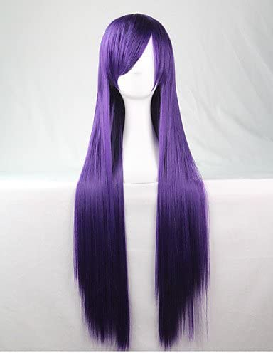 Mode pelucas pelo europeo lattic hanime peluca pelucas de colores lila largas lisa pelo peluca 80 cm: Amazon.es: Deportes y aire libre