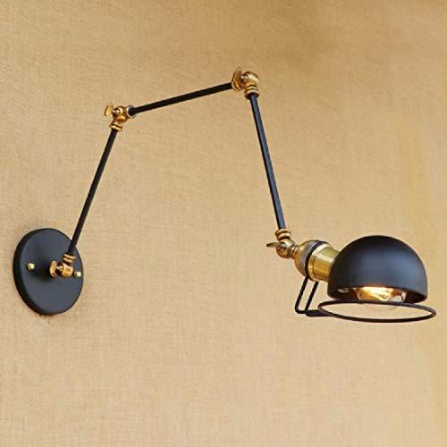 (Wall Light Study Revolving Wall Lamp Retro Simple Black Bed Head Iron Art Long Arm Wall Lamp)