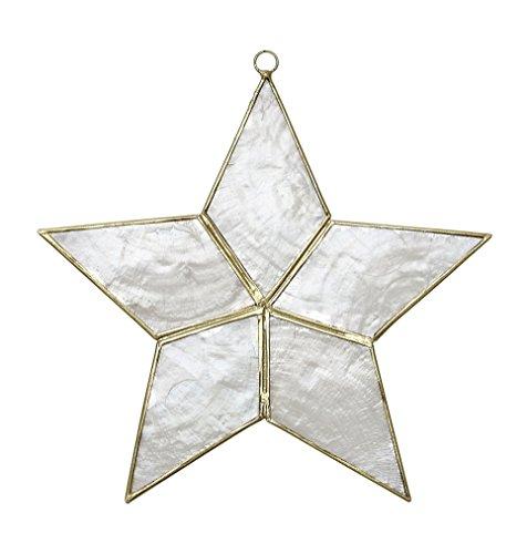 Coastal Beach Christmas Ornament Decoration, Capiz Star-Flat 4