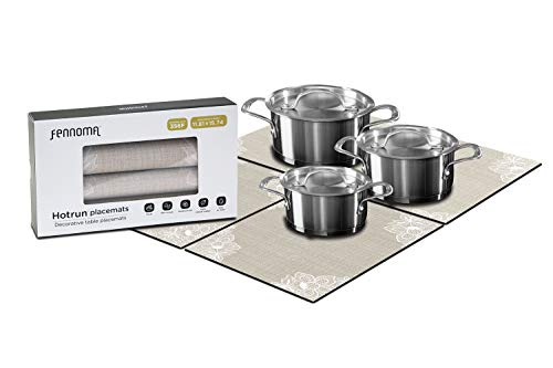 Fennoma HOTRUN Modular Table Runner placemat Set– Extendable Table Cover Holds pots Tableware – Protects Surfaces– Anti-Slip Material Handles up to 356 Degrees F – Multi-use Party Set (Beige & lace)