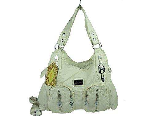 ANGEL KISS 'Soraya' 13216 Damen Tasche, praktische Alltagstasche in versch. Farben 32x25x12 (weiß)