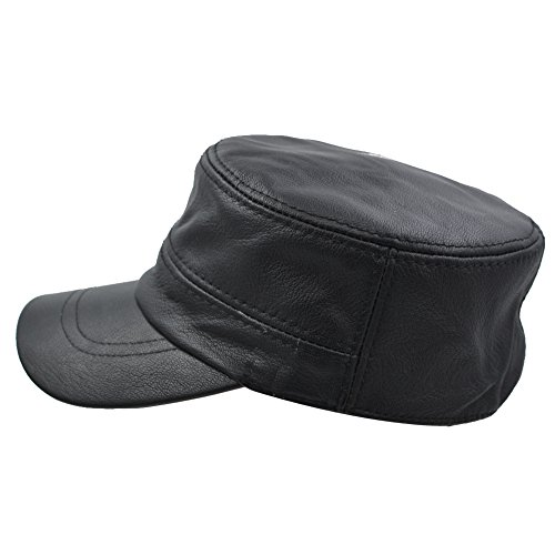 IFSUN Solid Genuine Lambskin Leather Hat Military Style Flat Cap