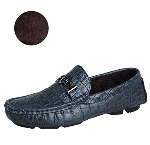 Anguang Femmes Hommes Unisex PU en Cuir Rétro Chaussures Bateau Plat Slip On Loafers Mocassins Chaussures de Conduite Bleu#1 9cOU6