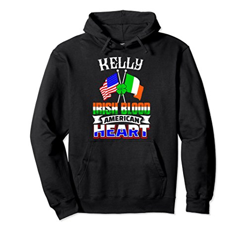 Unisex Irish Blood American Heart Pullover - Kelly Family Hoodie 2XL Black