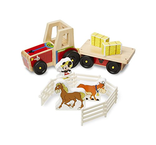 Melissa & Doug Mickey Mouse Clubhouse On The Farm Wooden Tractor Play Set (Mickey Mouse Playset)
