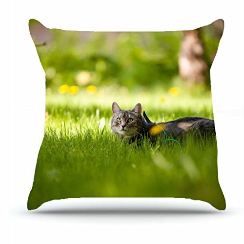 Throw Pillowcase 18 X 18 Inches Cotton Pillowcases Decorative Pillow Cover Case with Hidden Zipper Cushion Covers - Animals cat grass s tree shadow lie hide For Car