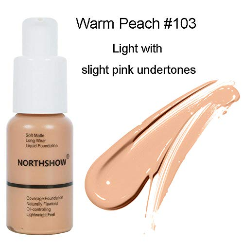 Matte Flawless Foundation Oil Control Full coverage Foundation Cream, Long Lasting Waterproof Liquid Concealer for Women Girls, 103 Warm peach-30ml