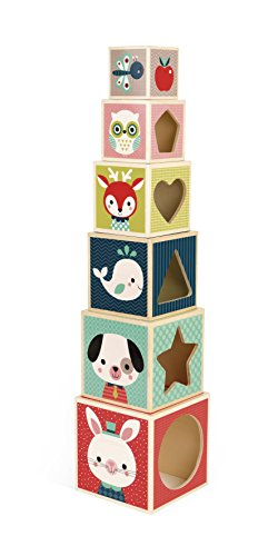 Janod Baby Forest 6-Block Pyramid Wooden Stacking and Nesting Blocks for Ages 12 Months+