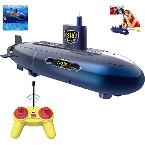 OMZBM Mini RC Submarine Remote Control Toy,RC Speed Racing Boats Outdoor Adventure Pigboat Model,Electronic Waterproof Underwater Submersible,Bath and Water DIY Education Toy,Blue