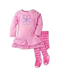 Gerber Baby de las niñas y Little 2pieza bordado Micro forro polar vestido con mallas