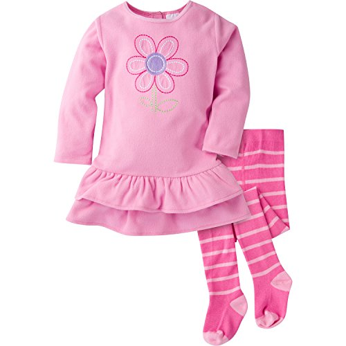 Gerber Baby Girls' Micro Fleece Dress with Tights, Daisy, 12 Months