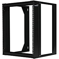 NavePoint 12U Wall Mount IT Open Frame 19 Rack with Swing Out Hinged Gate Black